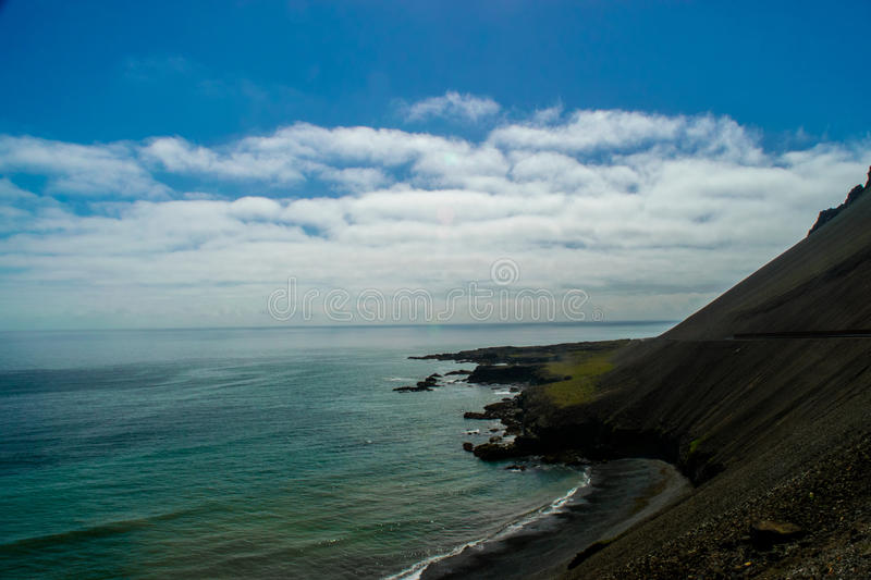 Coastal view. Along the East Fjords of Iceland royalty free stock photography