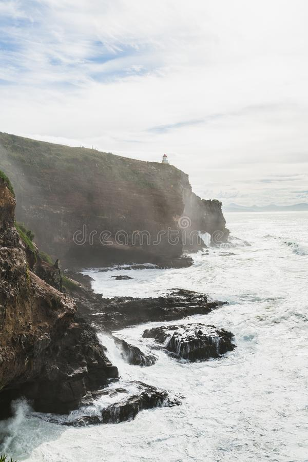 Harigton point, Coastal view, Pacific coast of New Zealand, Otago Peninsula stock photography