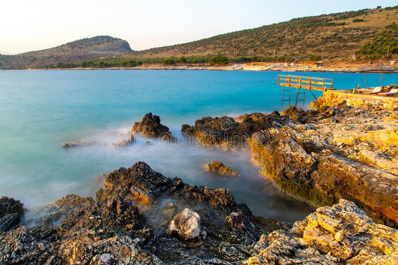 Sea wave during long exposure in Ksamil in Albania royalty free stock images
