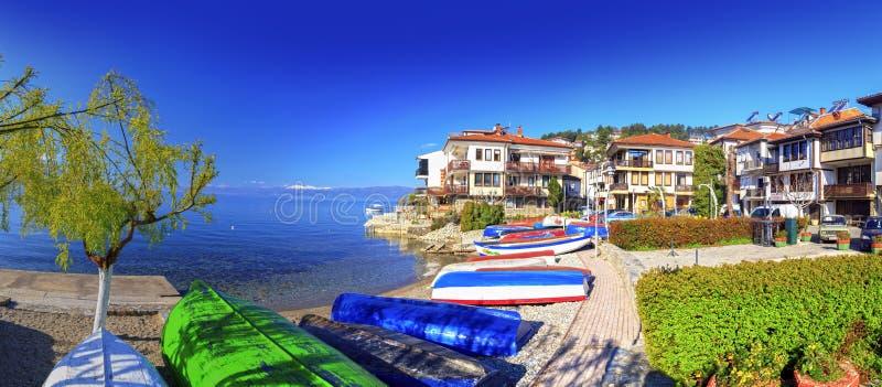 Coastal view of Ohrid, Macedonia royalty free stock photo