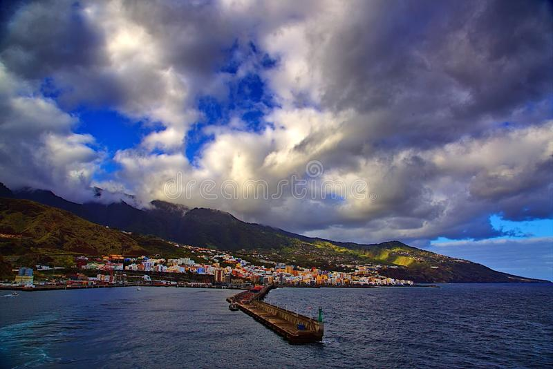 Santa Cruz de la Palma. Coastal view of Santa Cruz de la Palma, the Canary Islands. Santa Cruz is the capital of the volcanic island stock image