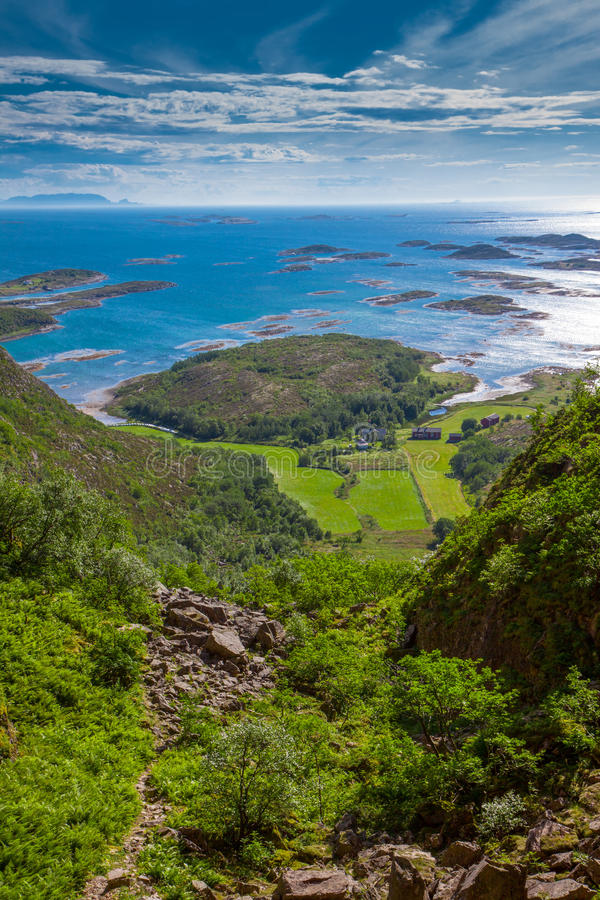 Coastal View from Torghatten mountain in Norway. Coastal View from Torghatten mountain in Nordland, Norway stock photography