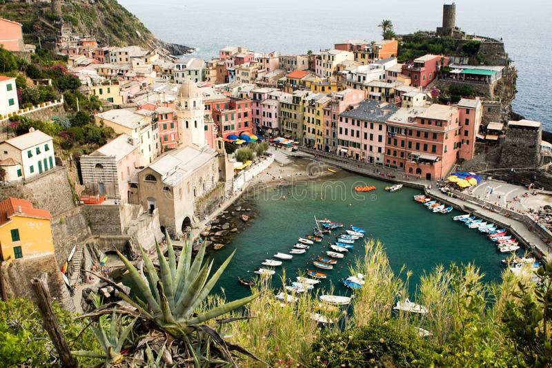 Aerial view of Vernazza, Italy stock photos