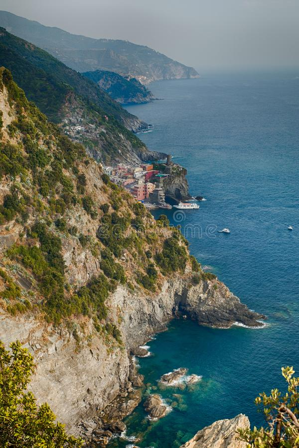 Aerial view of Vernazza, Italy stock images