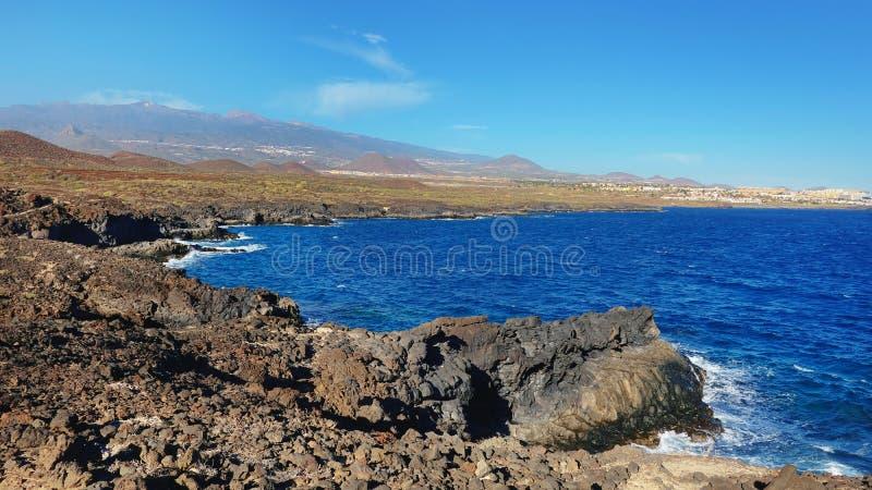 The coastal walk between Montana Amarilla and Amarilla Golf resort, Tenerife, Canary Islands, Spain stock photo