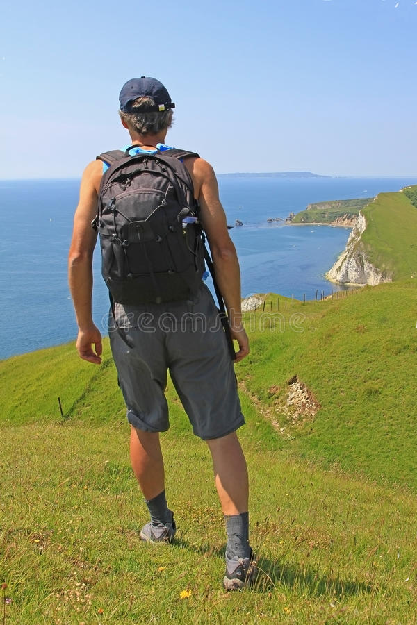 Coastal wanderer, south west coast path, dorset. Uk stock photography