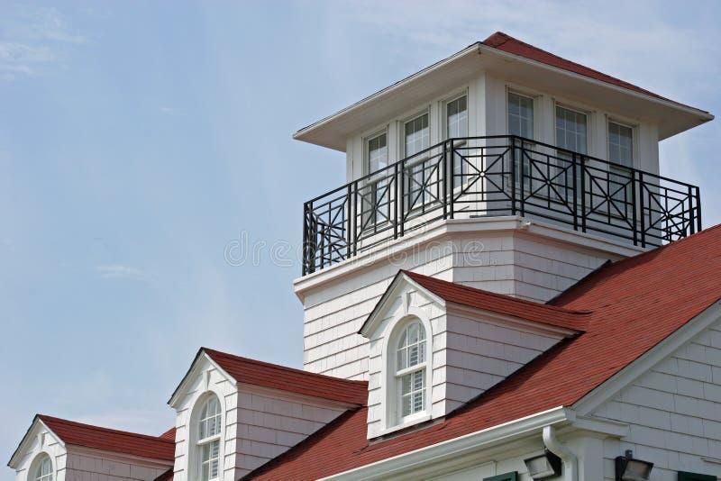 Coastal Watch. Roofline on coastal cottage stock image