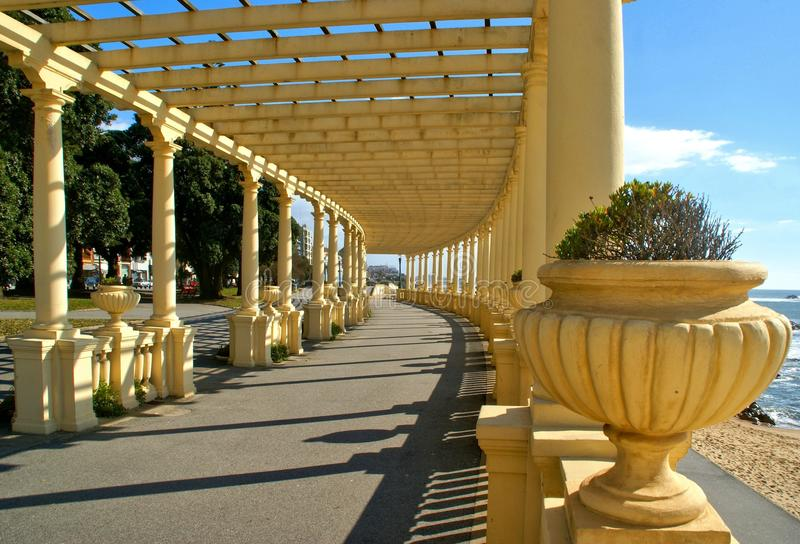 Coastal way with Pergola at Foz do Douro. Oporto, Portugal royalty free stock photography