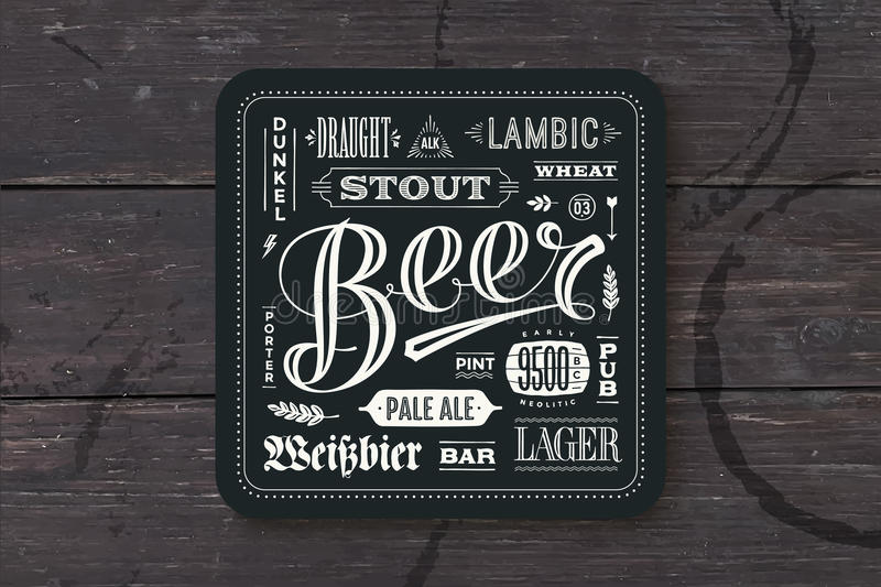 Coaster for beer with hand drawn lettering. Monochrome vintage drawing for bar, pub and beer themes. Black square for placing a beer mug or a beer bottle over vector illustration