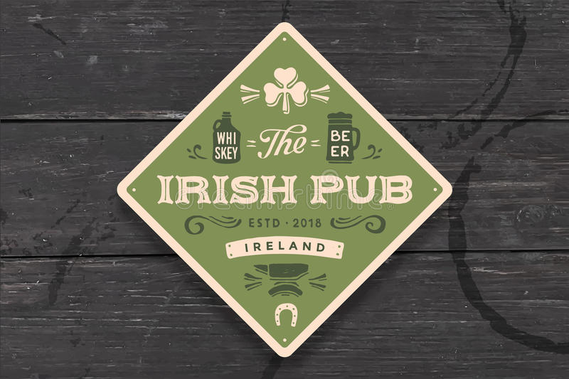 Coaster for Irish Pub. Vintage drawing for bar, pub. Beer and whiskey themes. Green square or rhombus for placing a beer mug or whiskey glass over it with stock illustration