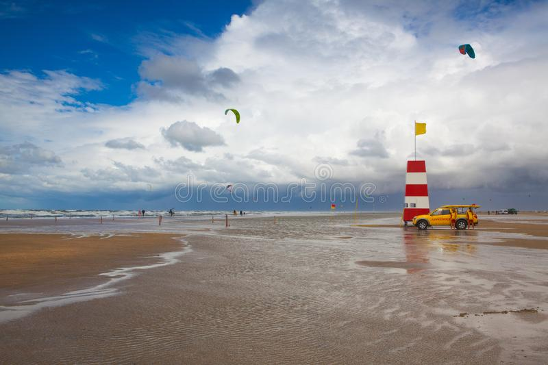 Coastguard on the favourite Lakolk beach for kiteboarding, surfing etc. Jutland, Denmark. Wadden Sea National Park, Denmark - August 11,2018: Coastguard on the royalty free stock photography