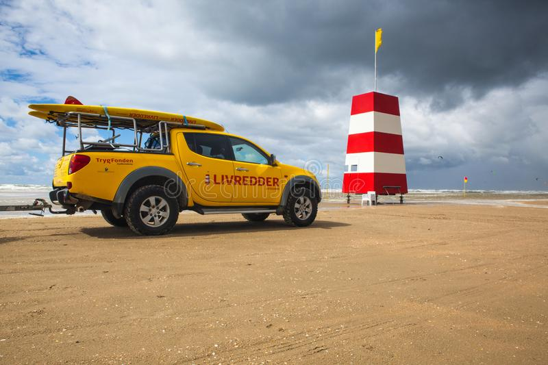 Coastguard on the favourite Lakolk beach for kiteboarding, surfing etc. Jutland, Denmark. Wadden Sea National Park, Denmark - August 11,2018: Coastguard on the royalty free stock images