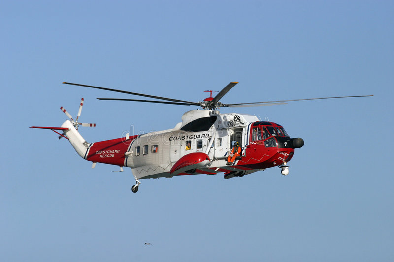 Coastguard Rescue. Helicopter in flight stock photography
