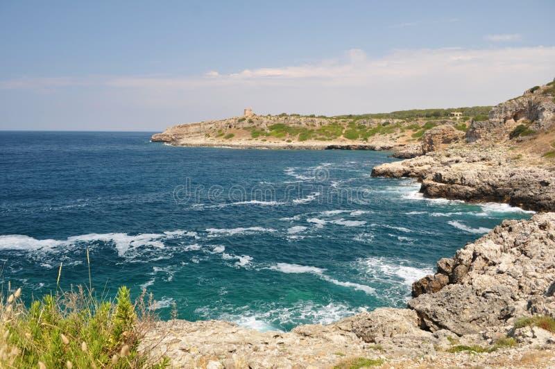Coastine风景在Salento,普利亚。意大利 免版税图库摄影