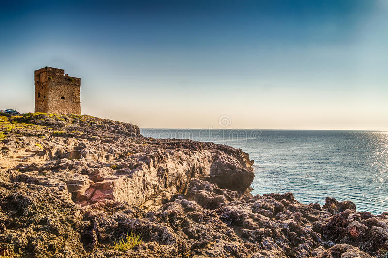 Coasting tower in Salento on the Ionian Sea royalty free stock images