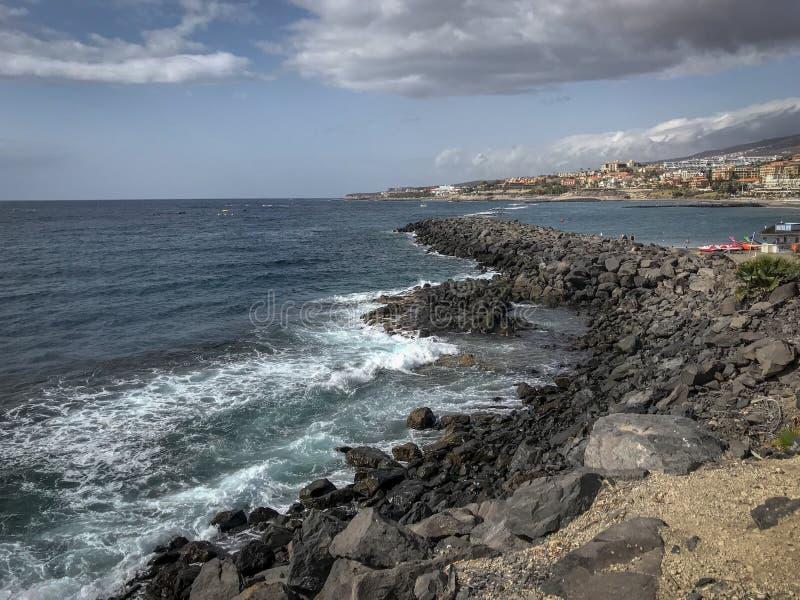 Coastline of Adeje, Tenerife. Coastline of Adeje. Near the beaches there are rocky pathways into the ocean stock photos
