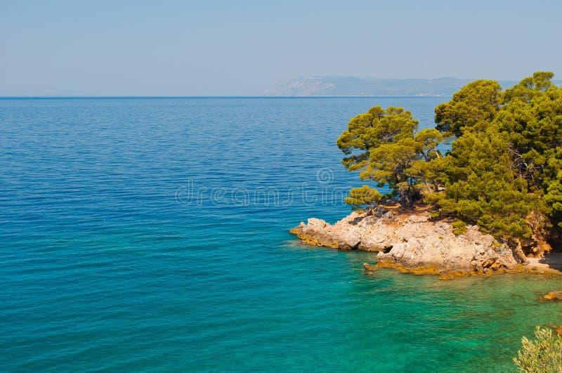 Coastline of adriatic sea near Podgora, Croatia royalty free stock image