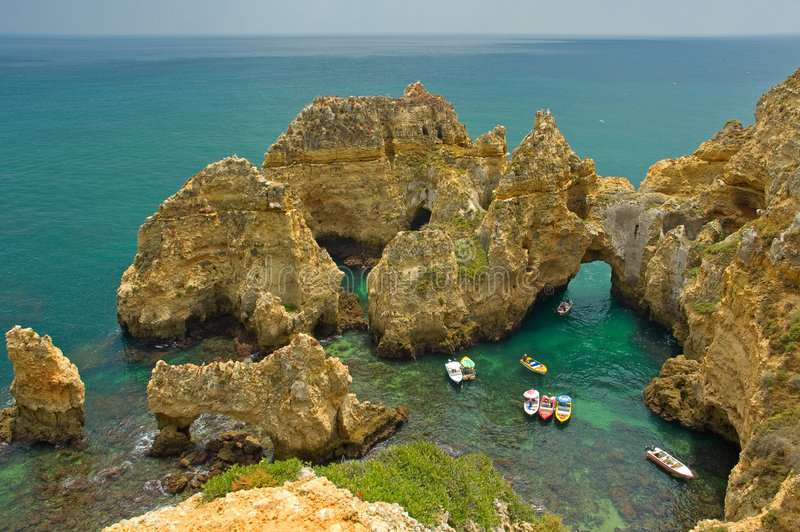 Coastline of Algarve, Portugal royalty free stock images