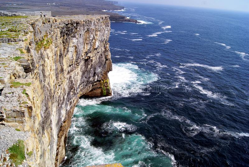 The coastline of Aran Islands. View of the rocky coastline of the island Inishmore, during the morning. Aran Island, Ireland stock photo