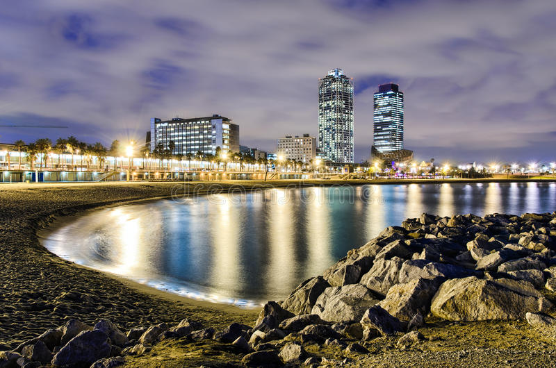 Coastline of Barcelona, Spain. Coastline of Barcelona at night with a view of hotel towers, Spain royalty free stock photography