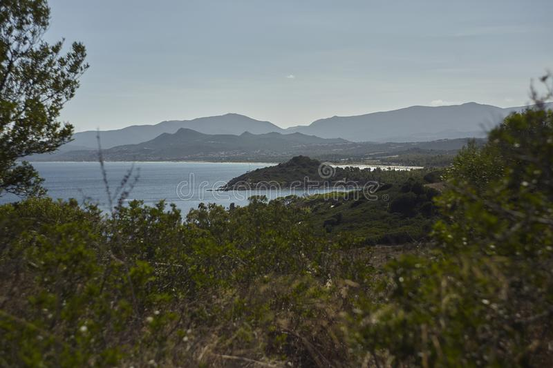 The coastline of Capo Ferrato. View of the coastline of Capo Ferrato in southern Sardinia: nature meets the sea in an uncontaminated place royalty free stock photo