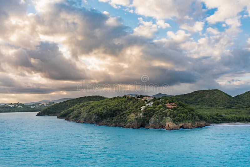 Coastline of the Caribbean Island of Antigua. At sunrise stock photos