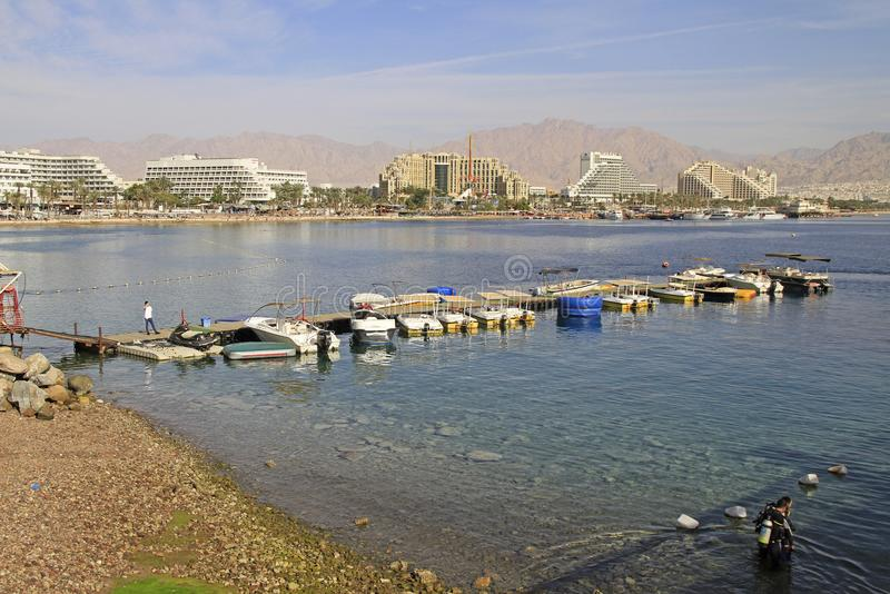 Coastline in city Eilat located on the Red sea stock photos