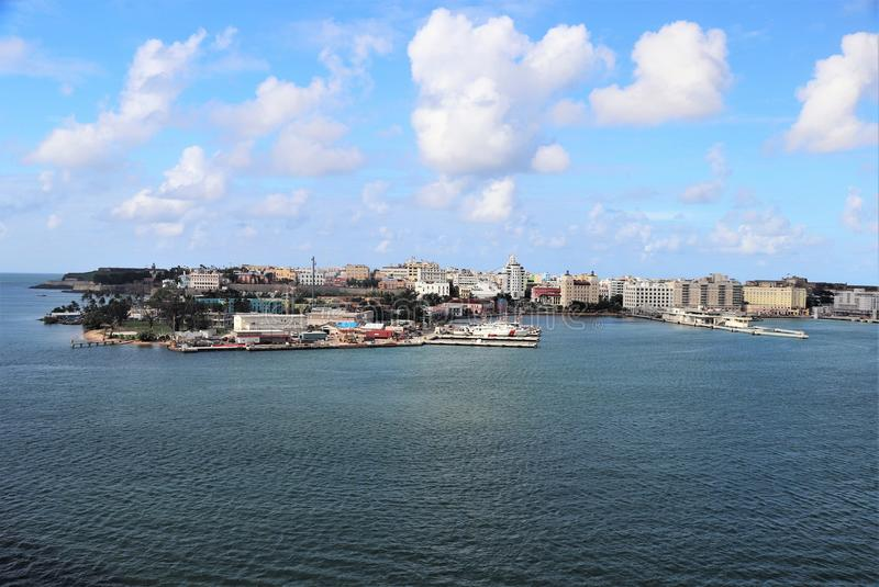 Coastline and city views along Old San Juan, Puerto Rico stock photos