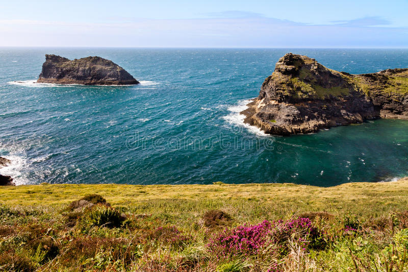 Coastline at Cornish coast near Boscastle, Cornwall, England stock photos
