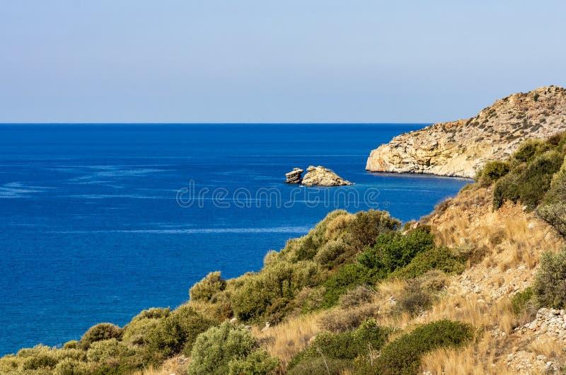 Coastline of Crete, wonderful blue sea royalty free stock photo