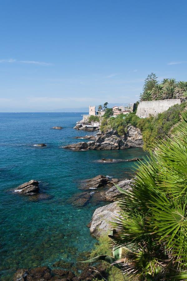 Coastline in Genova Nervi royalty free stock photo