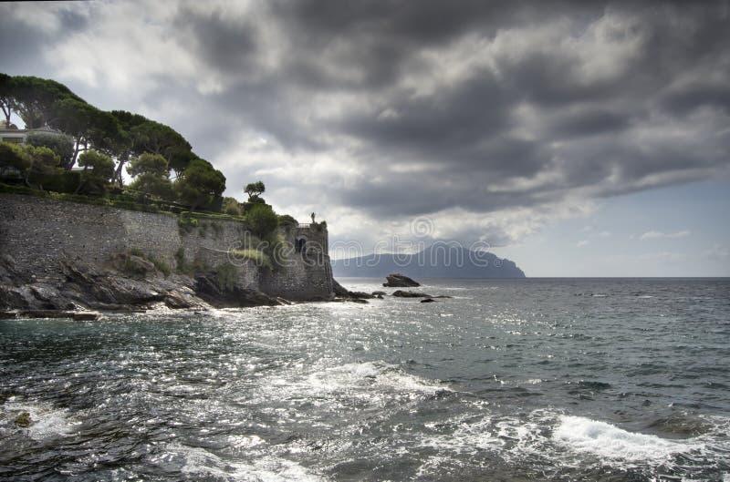Coastline of Genova Nervi royalty free stock photos