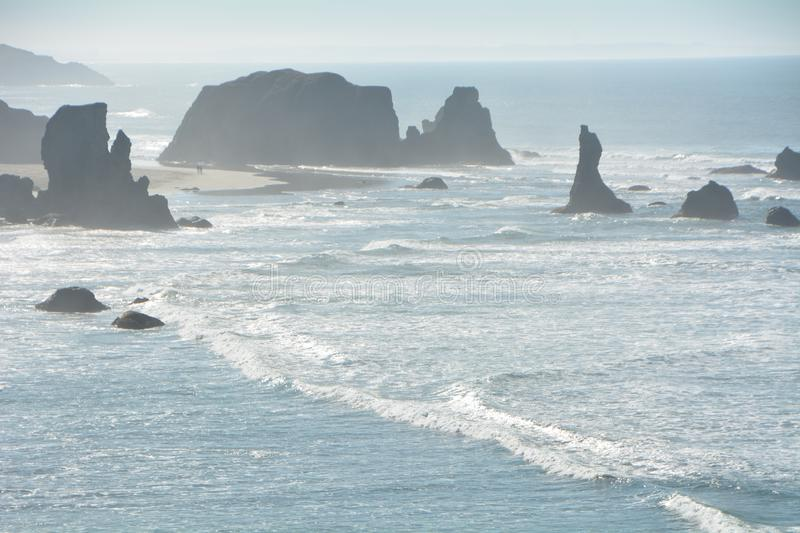 The rugged coastline near Bandon, Oregon. This is the coastline with a gentle surf just south of Bandon, Oregon stock photos