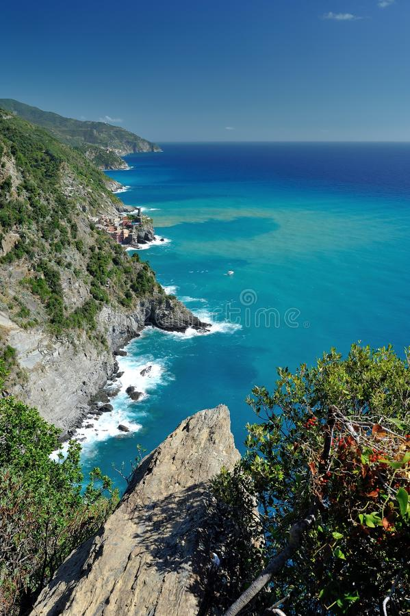 Coastline when hiking to Vernazza stock photography