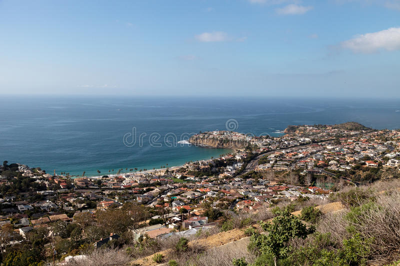 Coastline of Laguna Beach from an aerial view that shows Emerald stock photography