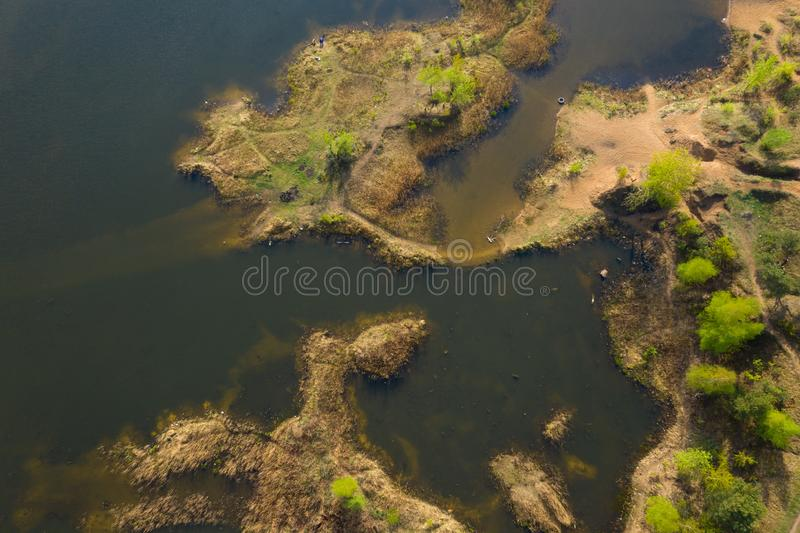 Coastline of lake aerial view. View from above on lakeside coast royalty free stock photo