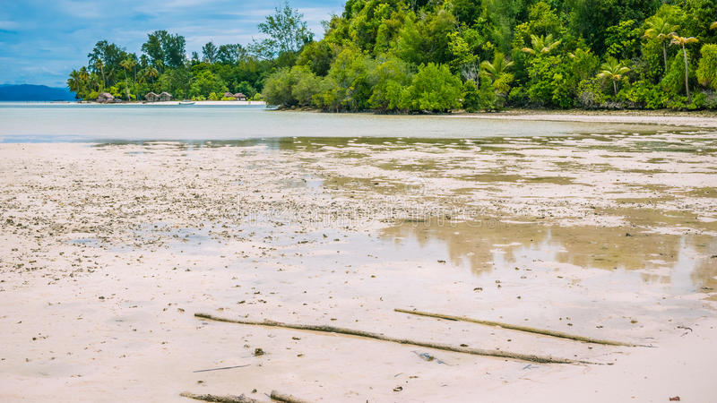 Coastline during low tide in front of Kri Island. Raja Ampat, Indonesia, West Papua.  stock images
