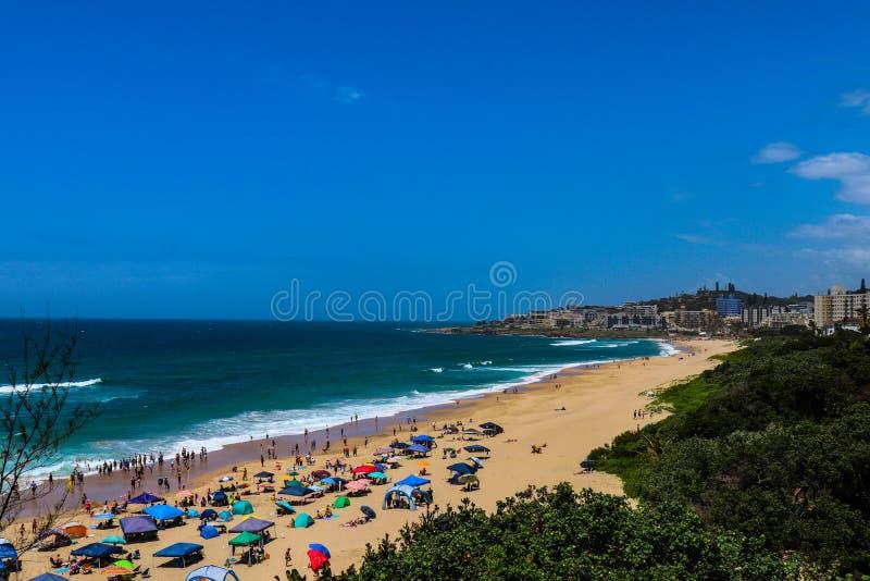 Shoreline of a coastal city. Coastline of Margate South Africa royalty free stock photo