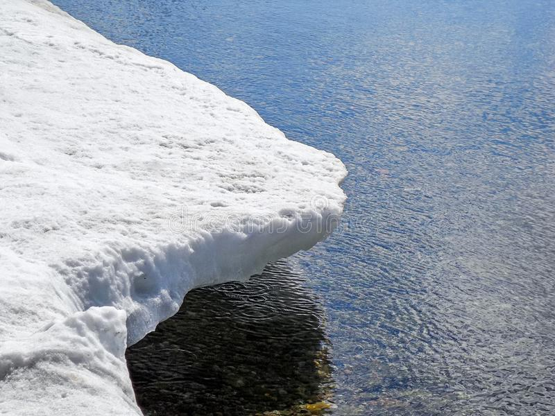 Coastline melting snow in spring. On Lake Baikal, Russia stock image