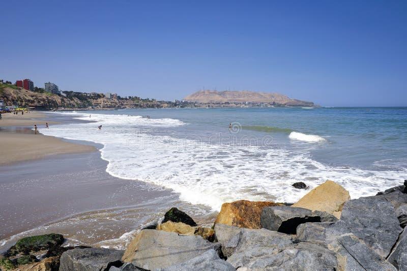 Coastline in Miraflores district in Lima, Peru,. South America stock image