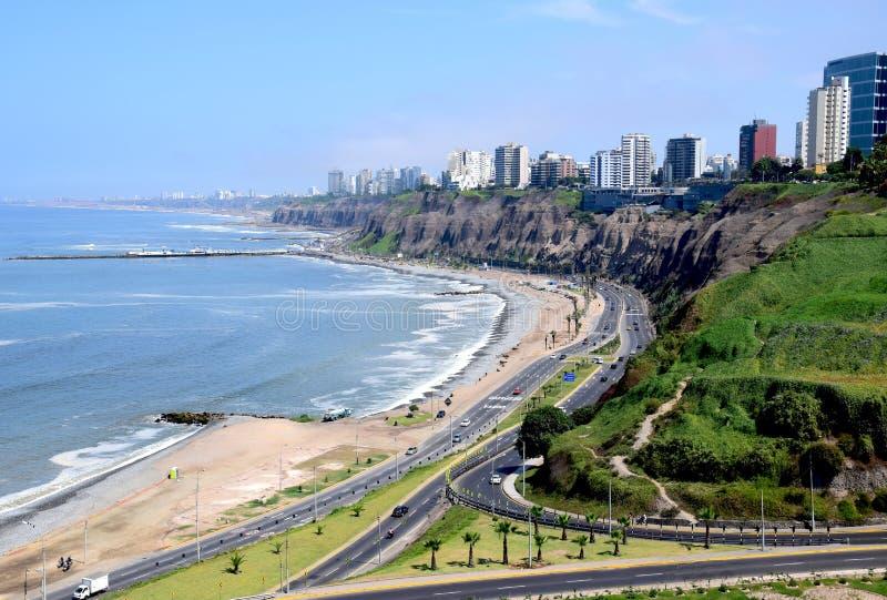 Coastline in Miraflores in Lima. Coastline in Miraflores a district in the south of Lima, Peru royalty free stock photo