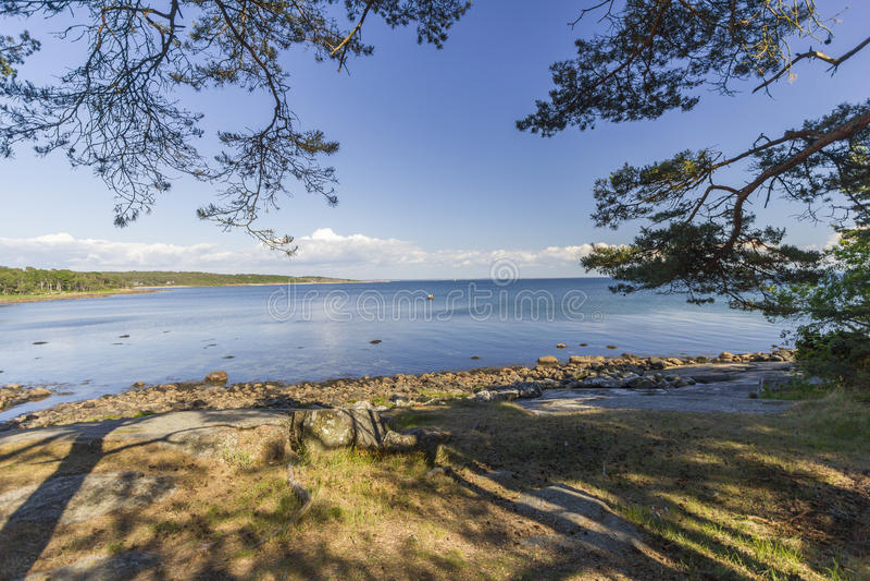 Coastline near Halmstad, Sweden. Beach nearby Halmstad in Sweden royalty free stock photo