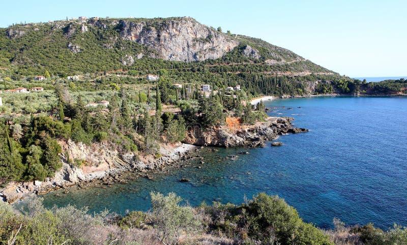 Coastline near Stoupa village, Peloponnese, Greece. Astline near Stoupa village, Peloponnese, in Greece stock photo