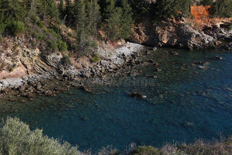 Coastline near Stoupa village, Peloponnese, Greece. Coastline near Stoupa village, Peloponnese, in Greece royalty free stock photography