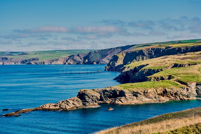 Coastline in North Cornwall, England. Beautiful Cornish coast landscape on the way to Port Isaac, North Cornwall, England stock image