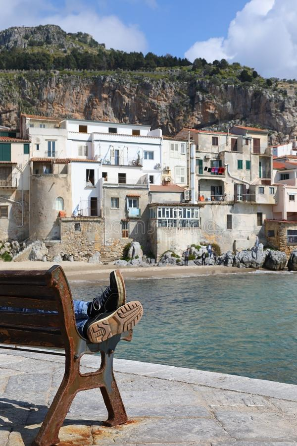 Coastline of the old town of Cefalu, Italy stock photos
