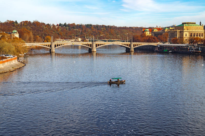 Coastline in Prague. Vltava. Prague street architecture. Views and sights of Czech republic. stock photography