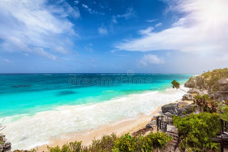 The coastline of the Riviera Maya in Tulum, Mexico stock image