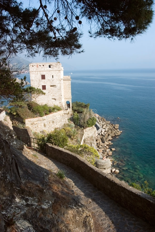 Coastline with tower stock photography