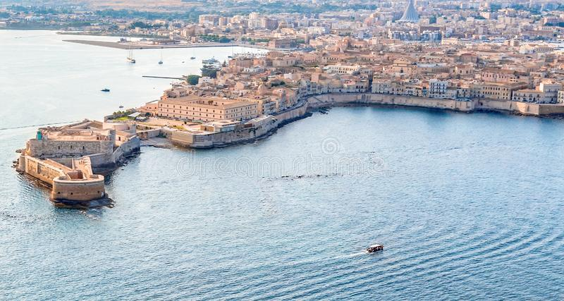 Coastline town Syracuse Sicily and old Ortigia island stock image